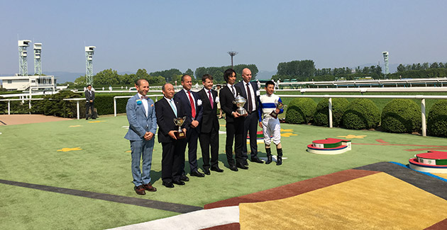 Mike Symons and Josh Rodder join VRC Chairman Michael Burn and MVRC CEO Michael Browell in representing Victorian racing in a race presentation at Kyoto.
